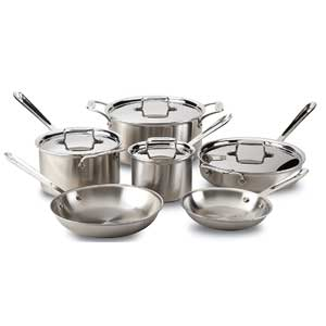 All Clad Brushed D5 Stainless Steel 10 Piece Cookware Set
