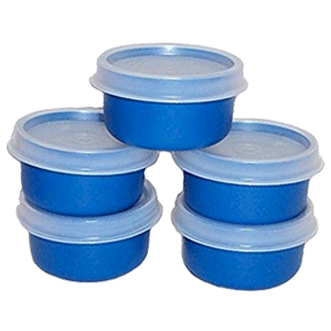 Tupperware 1 Ounce Set of 5 Blue Smidget Containers
