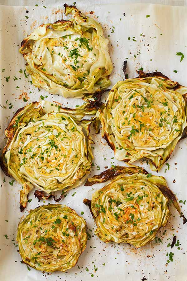 garlic roasted cabbage wedges