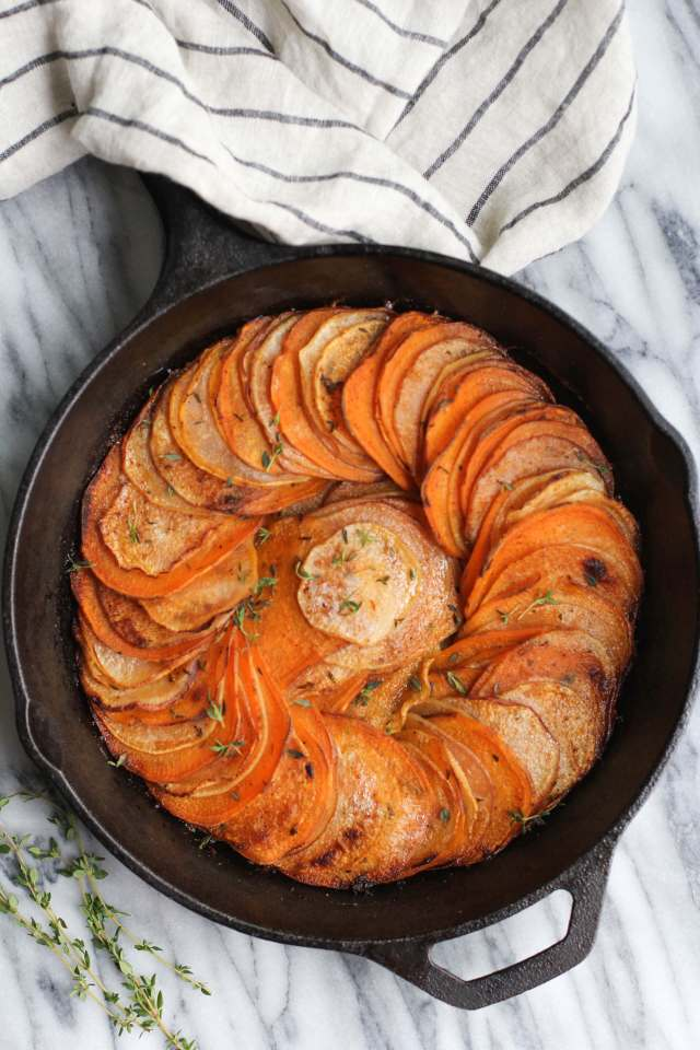 herb roasted sweet potato and turnip skillet