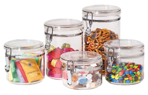 Oggi Acrylic Canister Set With Airtight Clamp Lids