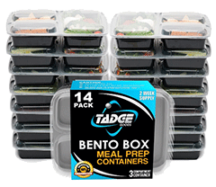 Tadge Goods 3 Compartment Container for Meal Prep