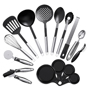Vremi Nonstick 15 Piece Utensils Kitchen Gadgets and Tools Set