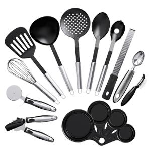 Vremi Nonstick 15 Piece Utensils Kitchen Gadgets and Tools Set