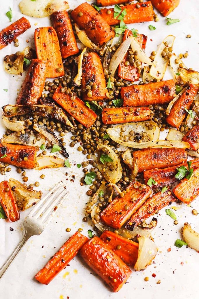 Spicy + Sweet Maple Carrots with Crispy Lentils