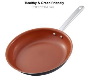 Hommate 9 Inch Healthy Green Ceramic Frying Pan for Eggs