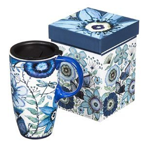 Shades of Indigo Flowers and Butterflies Ceramic Travel Mug