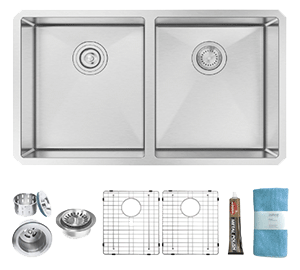 Zuhne Double Bowl Stainless Steel Kitchen Sink