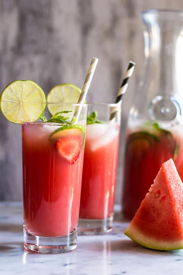 Sugar-free Watermelon Strawberry Agua Fresca