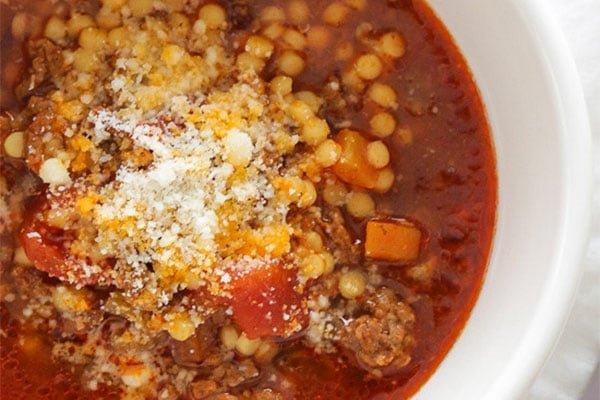 Beef,Tomato and Acini di pepe Soup