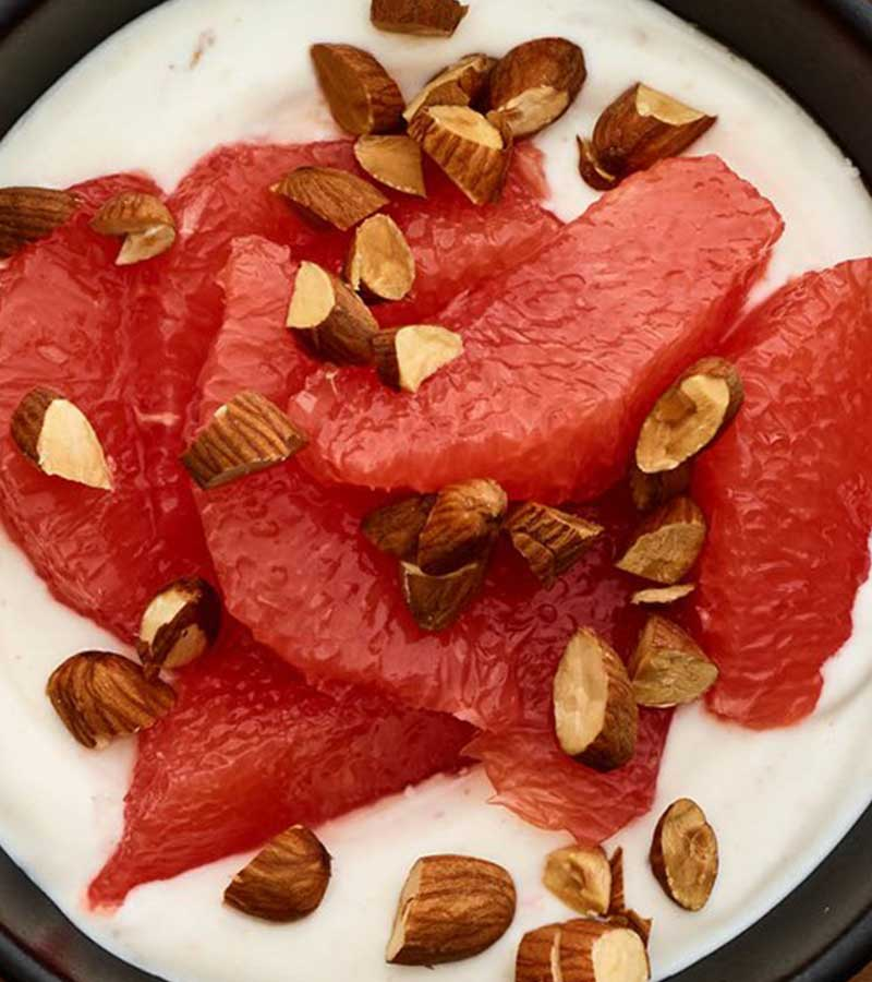 Grapefruit With Honey Yogurt and Almonds