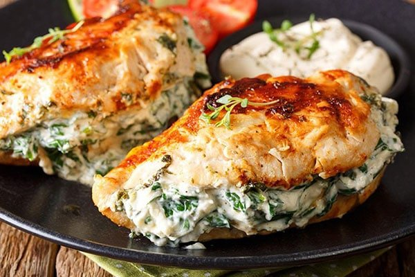 Pan Fried Spinach & Cream Cheese Stuffed Chicken Breasts