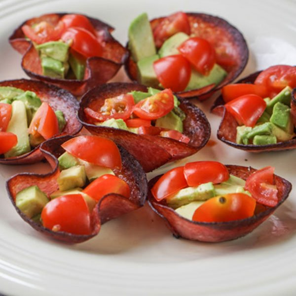 Salami Bites with Tomatoes and Avocado