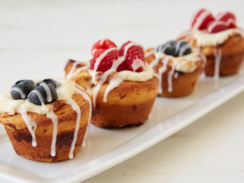 Berry Cheesecake Cinnamon Roll Cups
