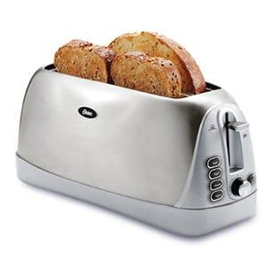 oster long slot 4 slice toaster- stainless steel