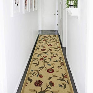 ottohome collection sage green floral garden rug