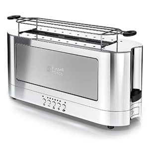 russell hobbs 2 slice glass accent long toaster- silver & stainless steel
