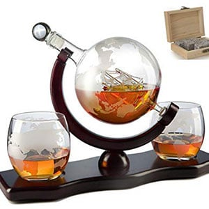 savant world decanter with 2 globe glasses and whiskey stones