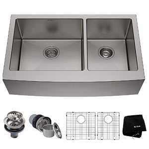 kraus khf203- 36 inch double bowl farmhouse apron sink