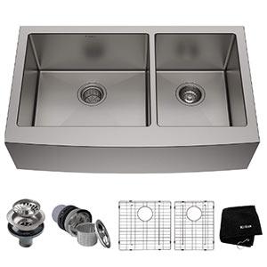 kraus khf203- 36 inch double bowl farmhouse apron sink