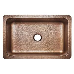 sinkology adams farmhouse apron front copper kitchen sink-