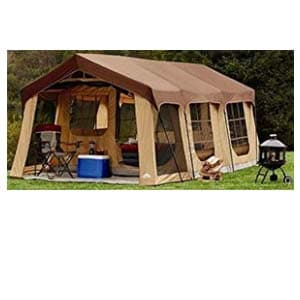 large 10 person family cabin tent w/front porch, room divider and rear door
