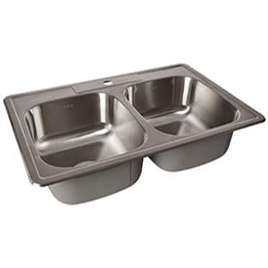 zuhne drop-in kitchen sink stainless steel (33 by 22 double bowl)
