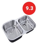 decor star p-008-b2 32 inch undermount 60/40 offset double bowl 18 gauge stainless steel kitchen sink