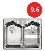 kohler k-3842-4-na octave top-mount double-equal bowl kitchen sink with 4 faucet holes