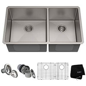 kraus standart pro undermount double bowl stainless steel kitchen sink