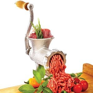 meat grinder with tabletop clamp- cast iron meat mincer and sausage maker includes 3 cutting disks