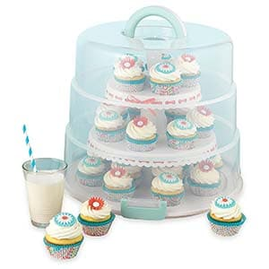 sweet creations 3 tier, collapsible cupcake and cakepop display carrier with handle