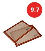 artisan silicone baking mat for half-size cookie sheet with red border