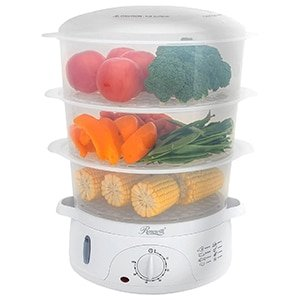 rosewill bpa-free 3-tier stackable baskets electric timer steamer