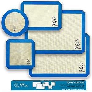 silicone baking mats set of 5-2 half sheets mats + 1 quarter sheet liner + 1 round & 1 square cake pan mat