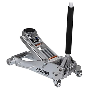 arcan 3-ton quick rise aluminum floor jack with dual pump pistons & reinforced lifting arm