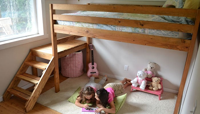 camp loft bed with stairs