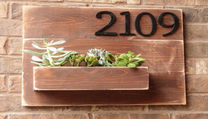diy wall planter with address number