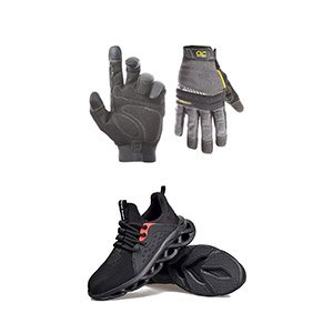 hand gloves and safety shoes