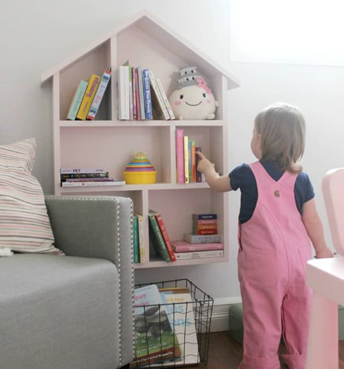 love create celebrate's house bookshelf
