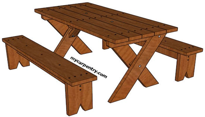 picnic table plan with detached benches