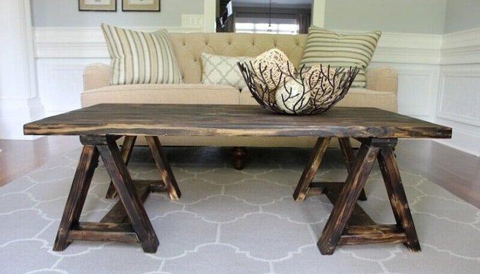 sawhorse coffee table