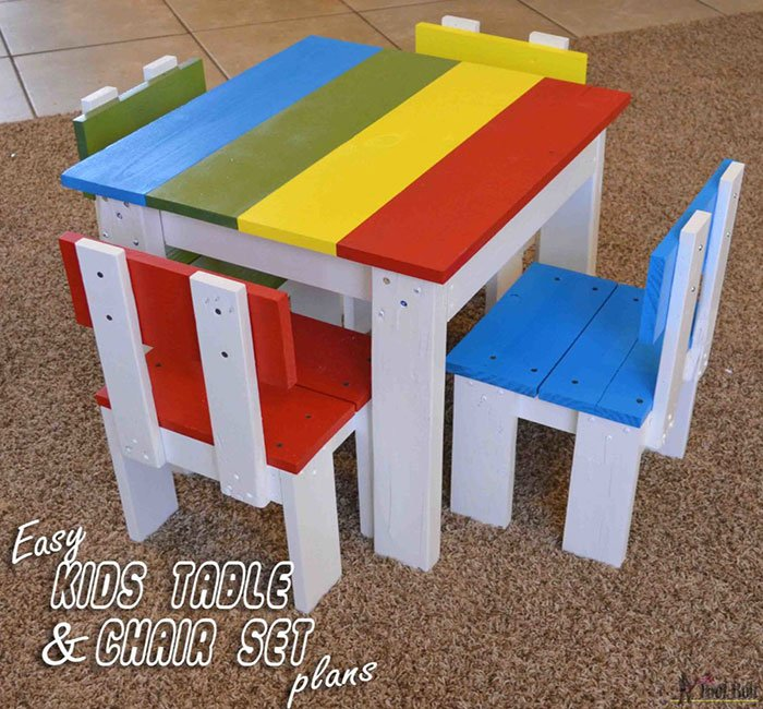 scrap wood kid's table and chair set