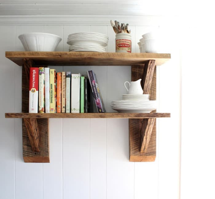 scrap wood kitchen shelves