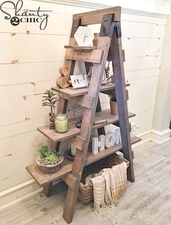shanty 2 chic's ladder sawhorse bookcase