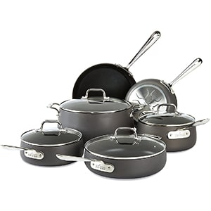 all clad hard anodized nonstick dishwasher safe cookware set