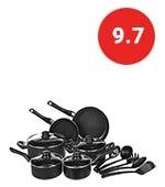 amazonbasics non-stick cookware set, pots, pans and utensils - 15-piece set