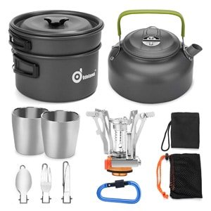 Odoland mess kit with mini stove Camping Cookware Set