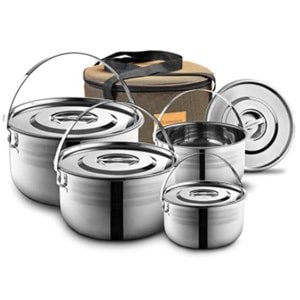 compact stainless steel Camping Cookware Set