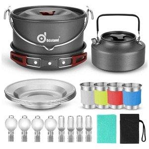 odoland 22pcs camping cookware set